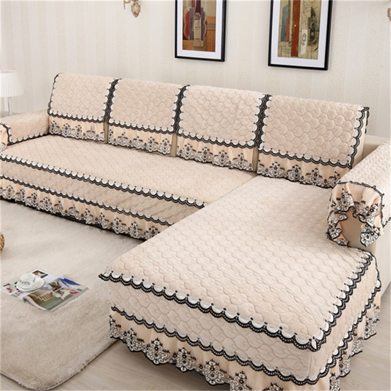 Fashion L Shaped Cover Sofa Towel Pads Fleeced Fabric Knit