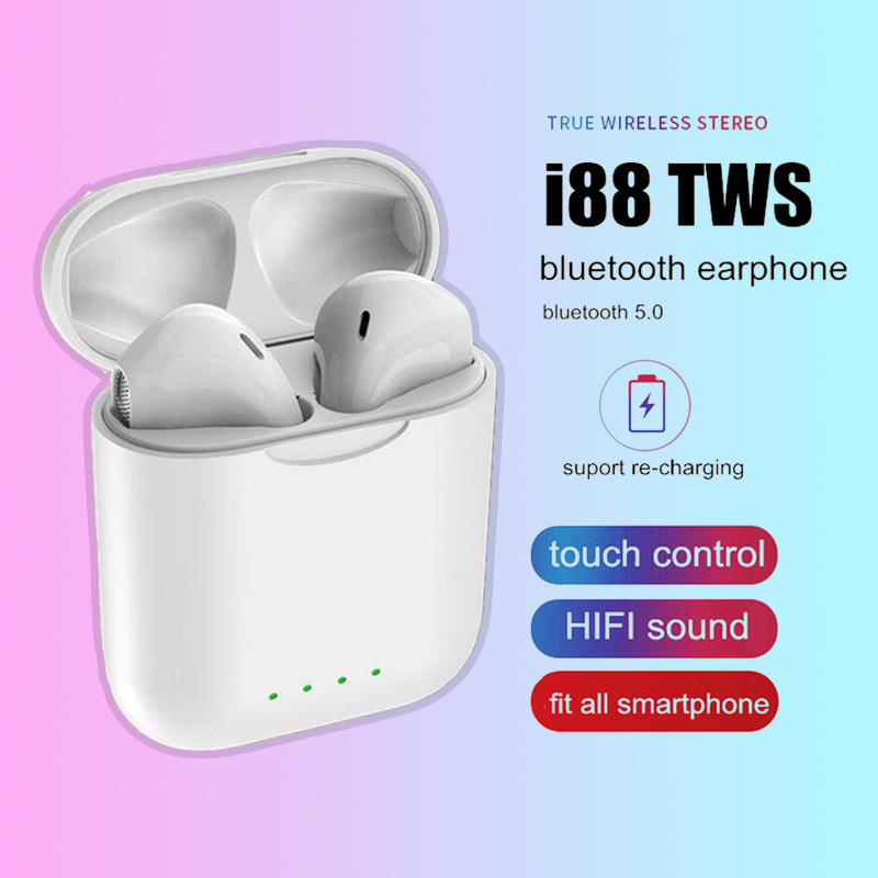 i88 TWS Wireless Earphones Bluetooth 5 0 2019 Mini Touch control Stereo  Earbuds in ear PK i9S i10 TWS For Phone
