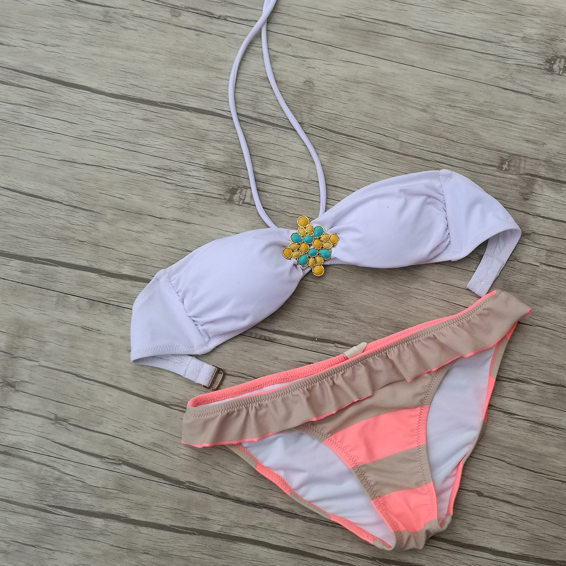 Women Thong Bottom Bikini White Diamond Pink Swimsuits Brazilian Biquini Swimwear saida de praia Sexy Secret maillot de bain