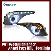 Туман сборки лампы светодиодный дневной свет удара Ангельские глазки Foglight Daytime Бег свет объектив бампер для Toyota Highlander Kluger 2012 2015