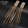 17KM Brand New Gold Color Long Crystal Tassel Dangle Earrings for Women Bar Wedding Drop Earing Fashion Jewelry Gifts