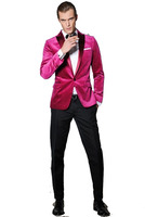 2017 Latest Coat Pant Designs Hot Pink Velvet Custom Blazer Tuxedo Colorful Wedding Suits For Men 2 Pieces Slim Fit Terno