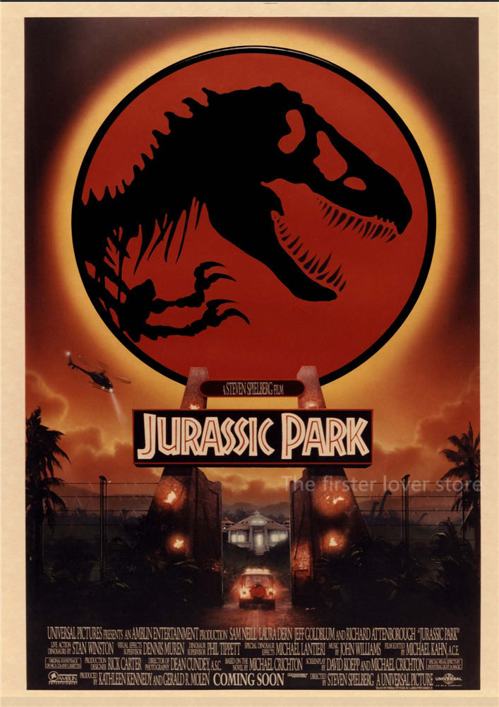 Jurassic Park Movie Posters Vintage Style Wall Stickers Kraft Paper Prints Home Decoration wall sticker