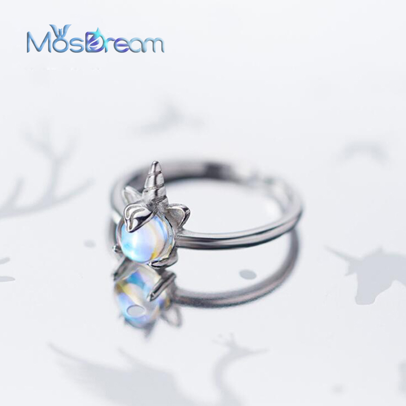 MosDream Unicorn S925 Silver Finger Ring Lovely Blue Light Magic Gemstone Ladies Rings Elegant Unique Jewelry For Women Gift