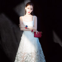 NAGODO High Grade White Dress Goddess AngelaBaby Gown Spaghetti Strap Feather Embroidered Long Maxi Dress S