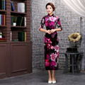 Chinese Traditional Dress Silk Velvet Cheongsam Half Sleeve Women Long Dresses Vestidos Qipao Wedding Dress Evening Dress