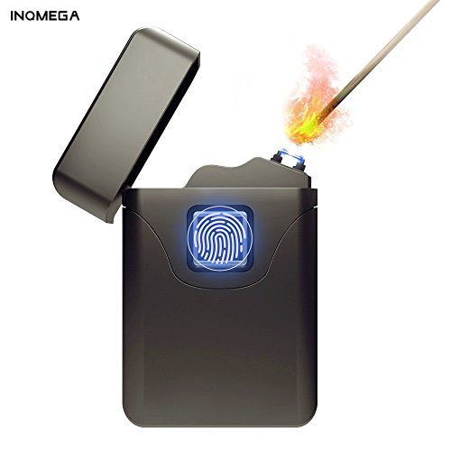 INQMEGA Rechargeable Fingerprint Lighter Electric Dual Arc Plasma X Beam Lighter Windproof Flameless Butane For Day Gifts