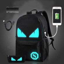 Gmilli Mode Männer Frauen Usb-gebühren Leinwand Reisetasche Laptop Rucksack Leucht Unisex Schultasche Rucksack Dropshipping