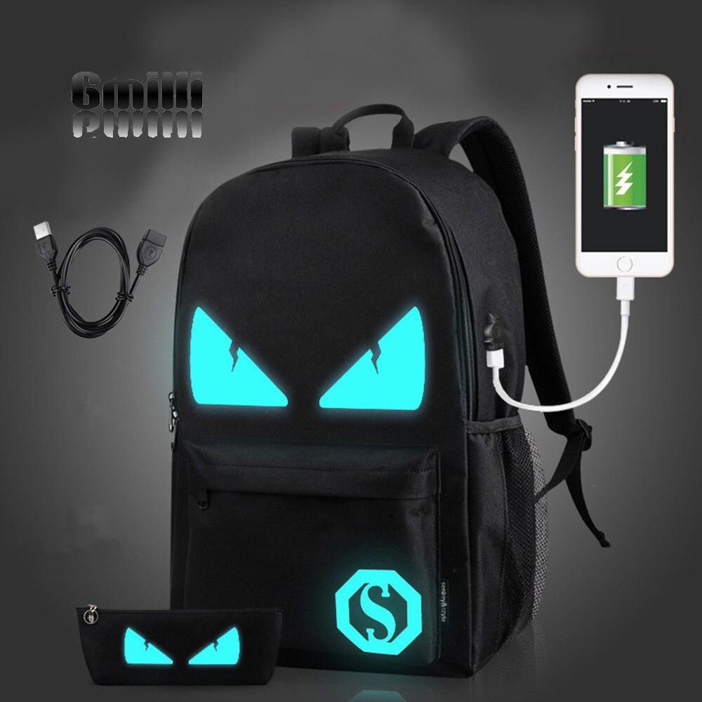 Gmilli Fashion Men Women USB Charge Canvas Travel Bag Laptop Backpack Luminous Unisex Schoolbag Rucksack Dropshipping