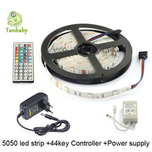 Tanbaby led strip light SMD 5050 30led/M 5M DC12V Non-wateproof flexible rope +44key RGB controller with remote + power supply