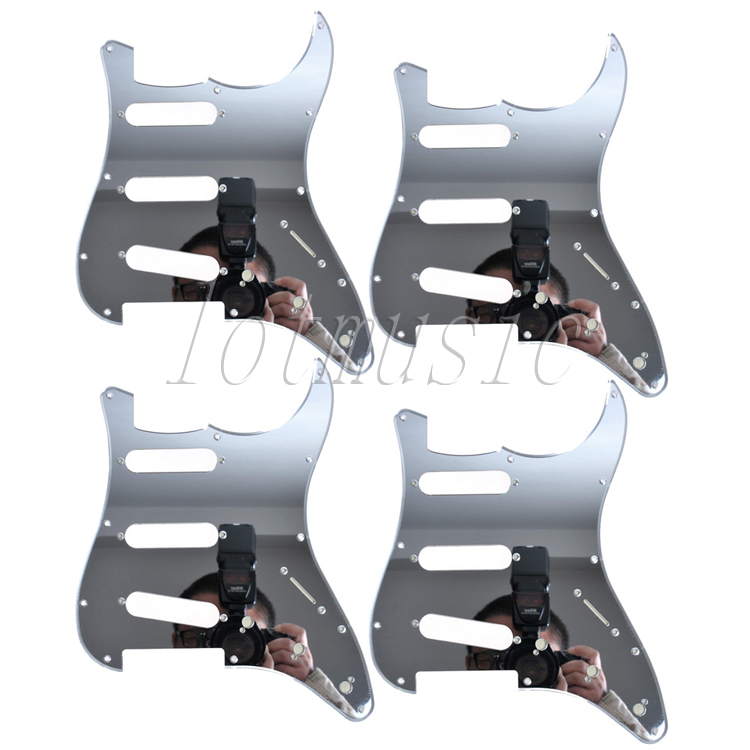 4Pcs New Mirror Pickguard 11 Hole SSS For Electric Strat Style Guitar Replacement 4pcs new mirror pickguard 11 hole sss for electric strat style guitar replacement