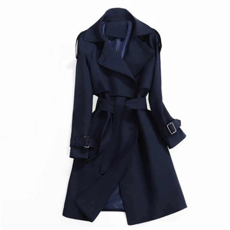 Women   Trench   Coat 2019 Spring Autumn Fashion Casual Slim Long Sleeve Classic Double-Breasted Long Windbreaker Female Outwear 833
