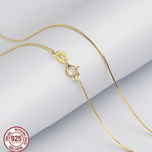 wholesale 100% 925 Sterling Silver Necklace Fashion Jewelry gold color 1mm 20/22/24 Inches Snake Chain,silver jewelry