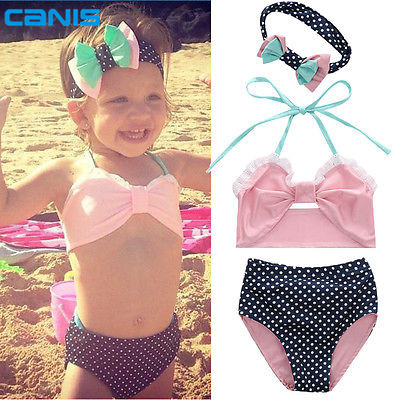 Cute baby little girls bow Fringe string Bikini swim bathing suit for kid high waist Swimwear sea Biquini infantils