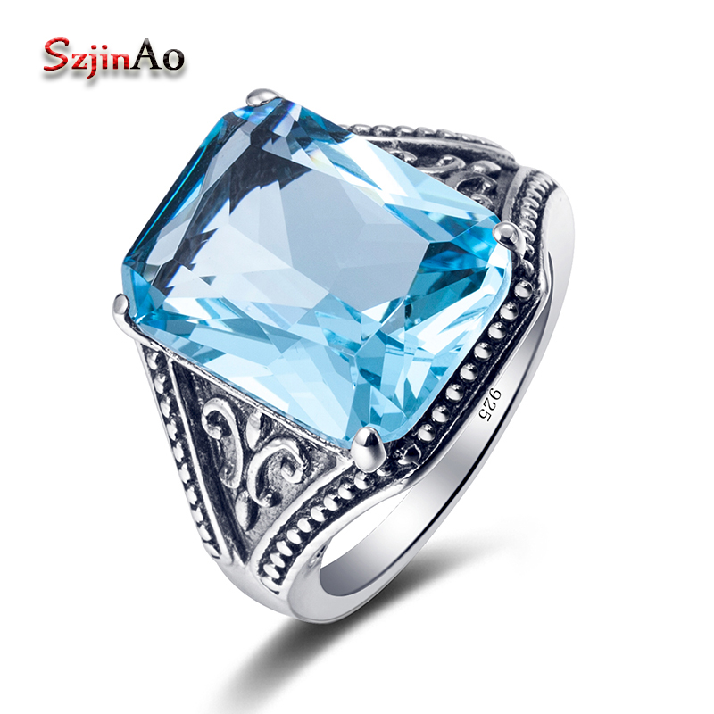 Szjinao Women Fashion Blue Stone Ring Vintage Aquamarine 925 Sterling Silver Jewelry Handmade bague femme de marque de luxe