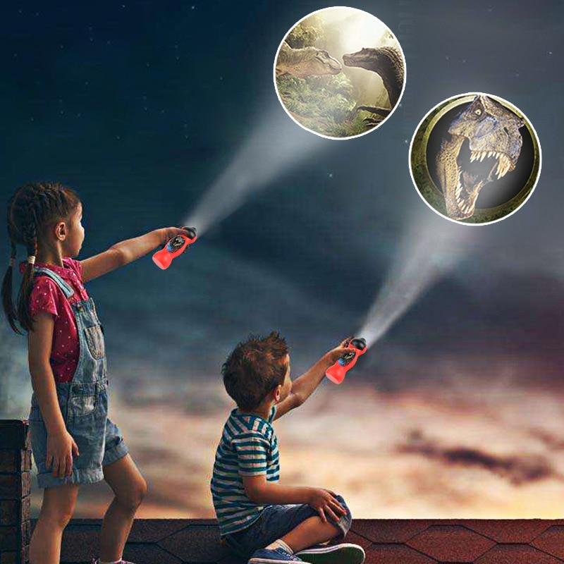 24 Patterns Spiderman Flashlight Children Toys Cartoon Dinosaur Projector Lamp 90 Rotary Early Enlightenment Education Kids Toy