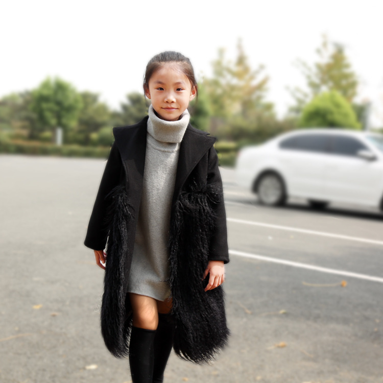 2019 Fall Parka Kids Girl Black Fur Clothes 5 6 8 10 years Thicken Rabbit Wool Turn-down Collar Warm Overcoat Children Clothes