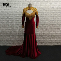 Burgundy Long Sleeve Evening Dress 2017 Gold Lace Beaded Open Back High Neck Mermaid Dresses Evening