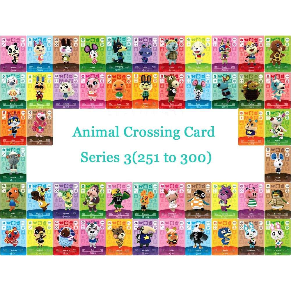 Animal Crossing Card NTAG215 Printed NFC Card Compatible Series 3 (251 To 300) Pick From The List