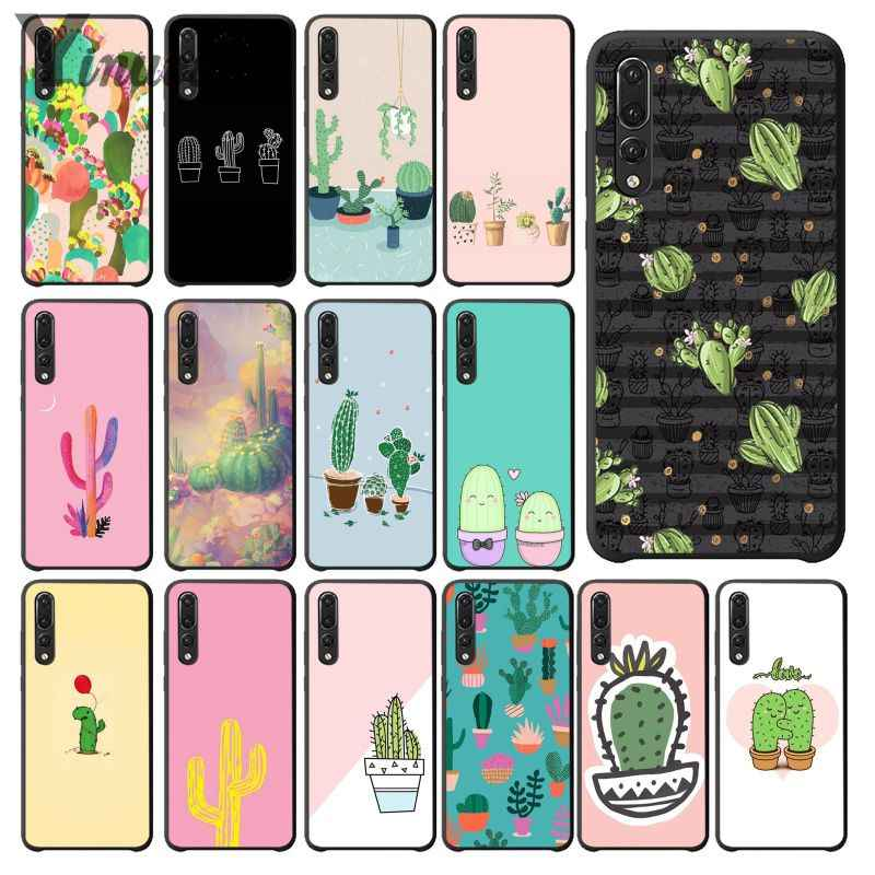 Yinuoda Candy Color Art Cactus Plant Black Phone Case Cover for Huawei Mate10 Lite P20 Pro P9 P10 Plus Mate9 10 Honor 10 View 10