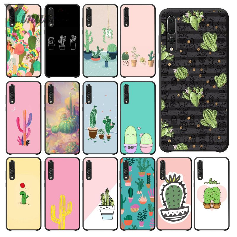 Buy Yinuoda Candy Color Art Cactus Plant Black Phone Case Cover for Huawei Mate10 Lite P20 Pro P9 P10 Plus Mate9 10 Honor 10 View 10 for only 1.09 USD