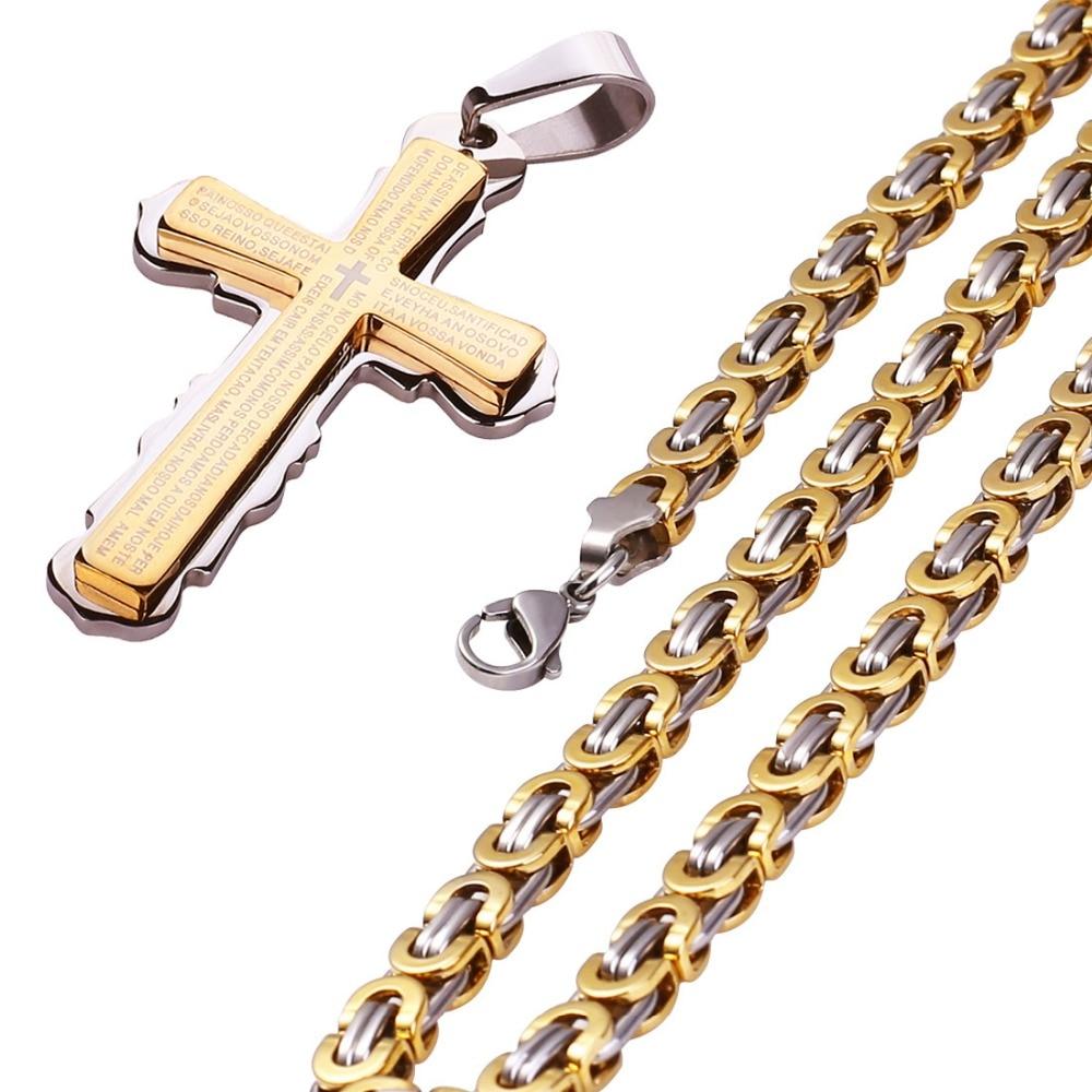 Titanium Steel 24K Gold/Silver Plated Jesus Cross Pendant Hip Hop Necklace Scriptures Bible Print Cross Charm Pendant Jewelry time turner rotating hourglass pendant necklace gold silver plated