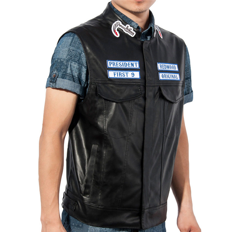 fashion men sons of anarchy motorcycle club vest faux. Black Bedroom Furniture Sets. Home Design Ideas