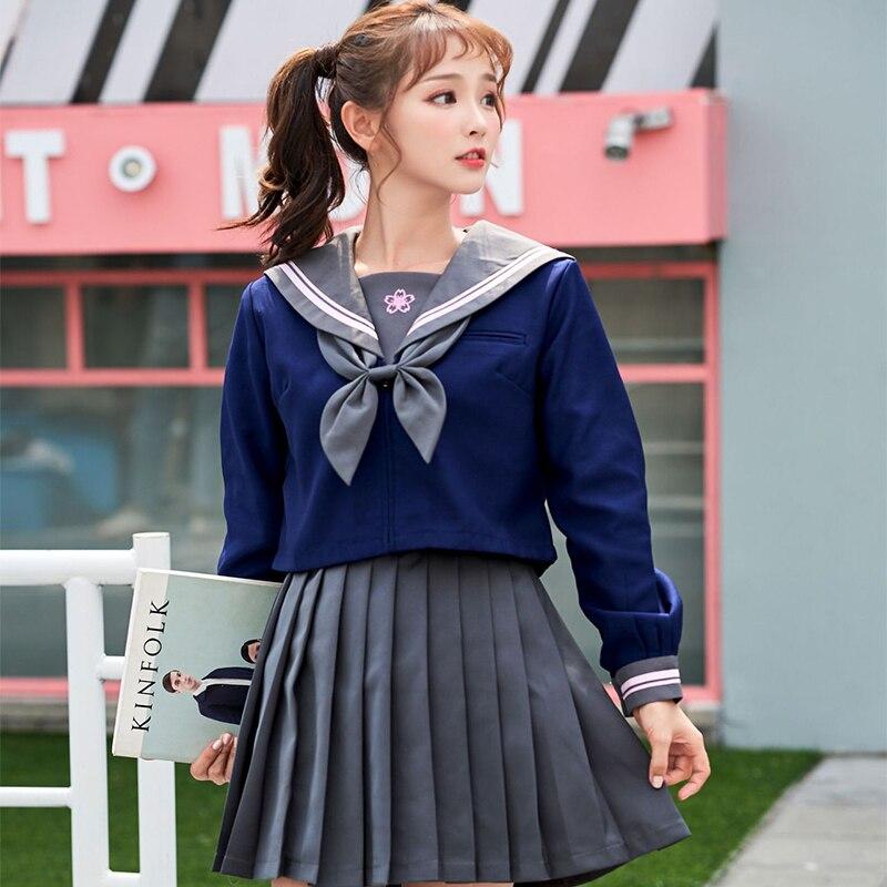 UPHYD Sakura Embroidery Japanese Girl School Uniforms Cute Long-length Sailor Tops Pleated Skirt Full Sets Cosplay JK Costume