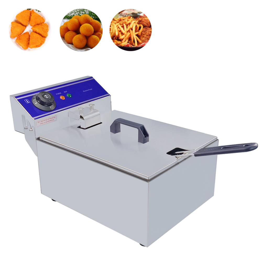 10L Electric Deep Fryer Stainless Steel Thermostat Control Frying Machine Commercial Household Fryer Chicken Wings French Fries