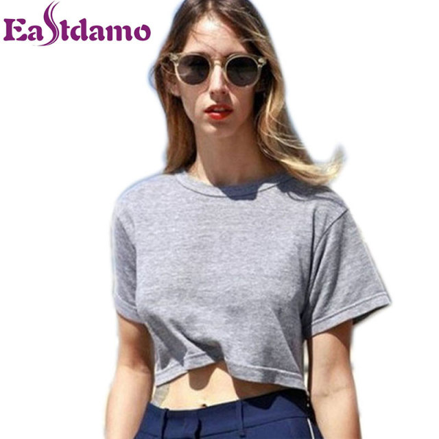 Summer 100% Cotton Casual T Shirt Women Fitness Crop Top 6 Colors Sexy Short Women Tops Tee Shirt Femme Plain Loose Crop Tops