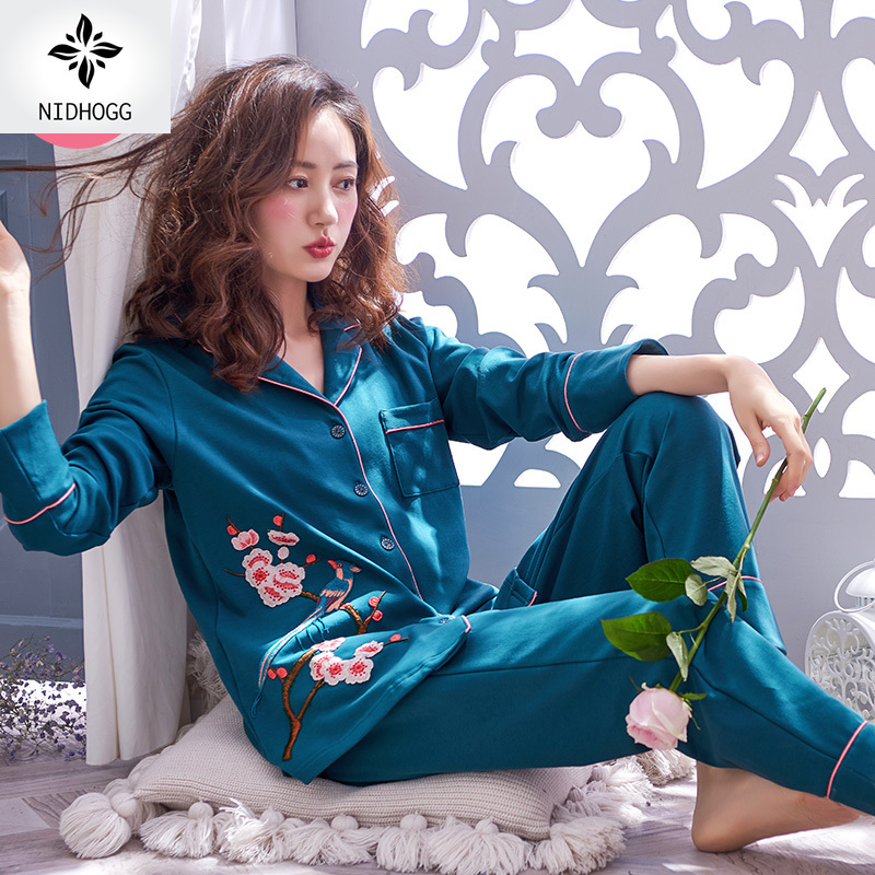 Spring autumn 100 Cotton Sexy Pajamas Long sleeved Pajama Sets Women Floral Mother Sleepwear Loose Plus