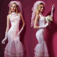 New Porn Women Lingerie Sexy Hot Erotic Wedding Dress Cosplay White Erotic Lingerie Porno Costumes Transparent