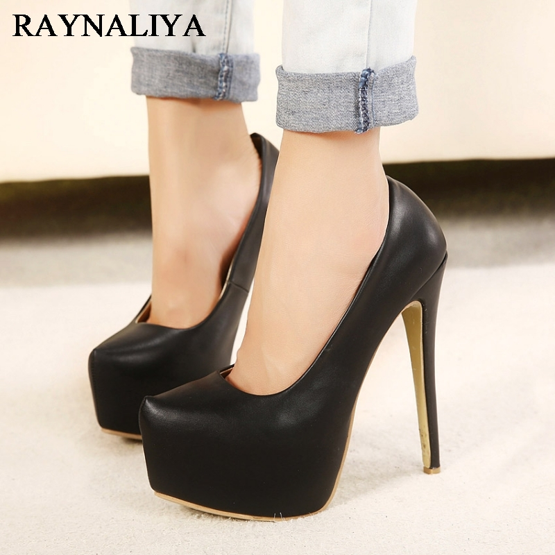 Sexy 15cm Extreme Thin High Heels Women Pumps Platform Ladies Wedding Party Dress Black Shoes Big Size 35-44 WZ-A0025 hot sale brand ladies pumps sexy women high heels platform sexy women high heel pumps wedding shoes free shipping 2888 1