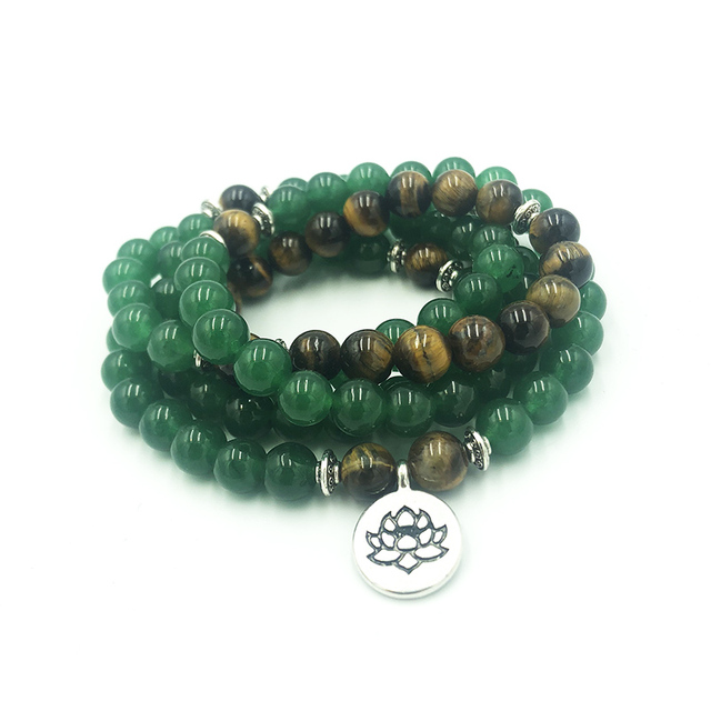 Lotus OM Charm 108 Prayer Beads Wrist Green Aventurine Wraps Bracelet For Unisex OM Mala Yoga Bracelet