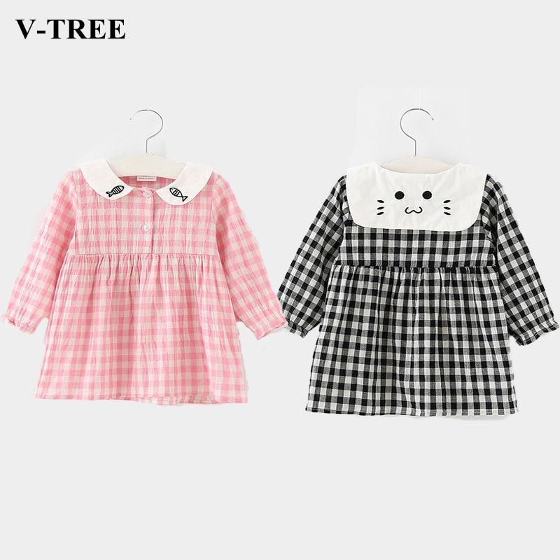 Autumn 2018 Kids Dresses For Girls Cartoon Girls Dress Plaid Children Princess Dress Kids School Dress Baby Costume Clothing