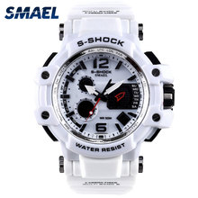 SMAEL Hombres Relojes Blanco Reloj Del Deporte LED Digital 50 M Impermeable Casual Watch S Choque Reloj Masculino 1509 masculino relogios Reloj hombre