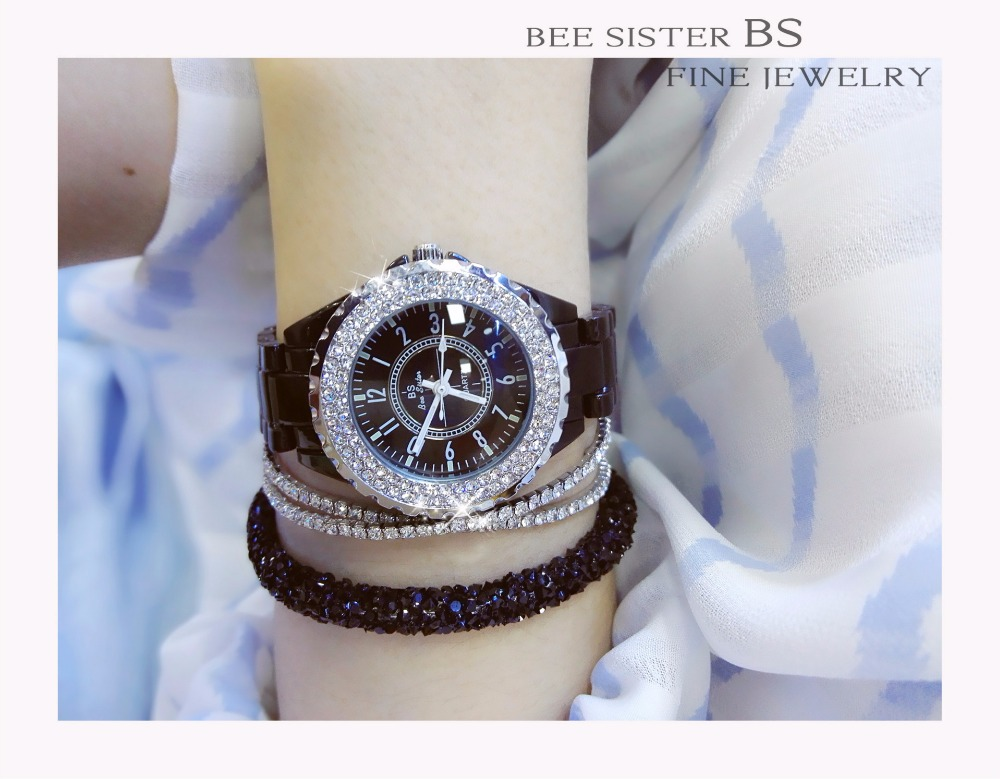 Summer BS Brand Full Crystal Ceramics Band Black Watch Women Luxury Czech Stones Watch Lady Zircon Rhinestone Bangle Bracelet new arrival bs brand full crystal steel band bracelet watch women luxury tonneau diamond watch lady rhinestone bangle bracelet