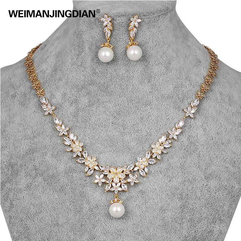 WEIMANJINGDIAN Flower Cubic Zirconia CZ Zircon Crystal and Shell Pearl Wedding BRIDAL JEWELLERY SETS