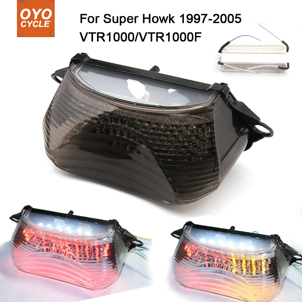 Motorcycle Integrated LED Tail Light Brake Turn Signal Blinker For Honda Super Howk VTR1000 VTR1000F 1997-2005