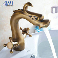 Antique Brass Chinese Dragon Faucets Bathroom Basin faucet crane sink Mixer Tap 9003A