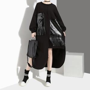 Image 4 - Женское Повседневное платье с бахромой, черное свободное платье большого размера из искусственной кожи с длинными рукавами и карманами, модель 2020 на осень и зиму, 4029
