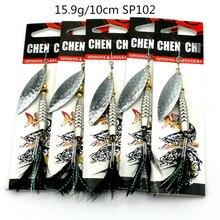 HENGJIA Hard metal spinner spoon sequin fishing baits leurre peche brochet pike bass fishing lures pesca fishing tackles 5pcs