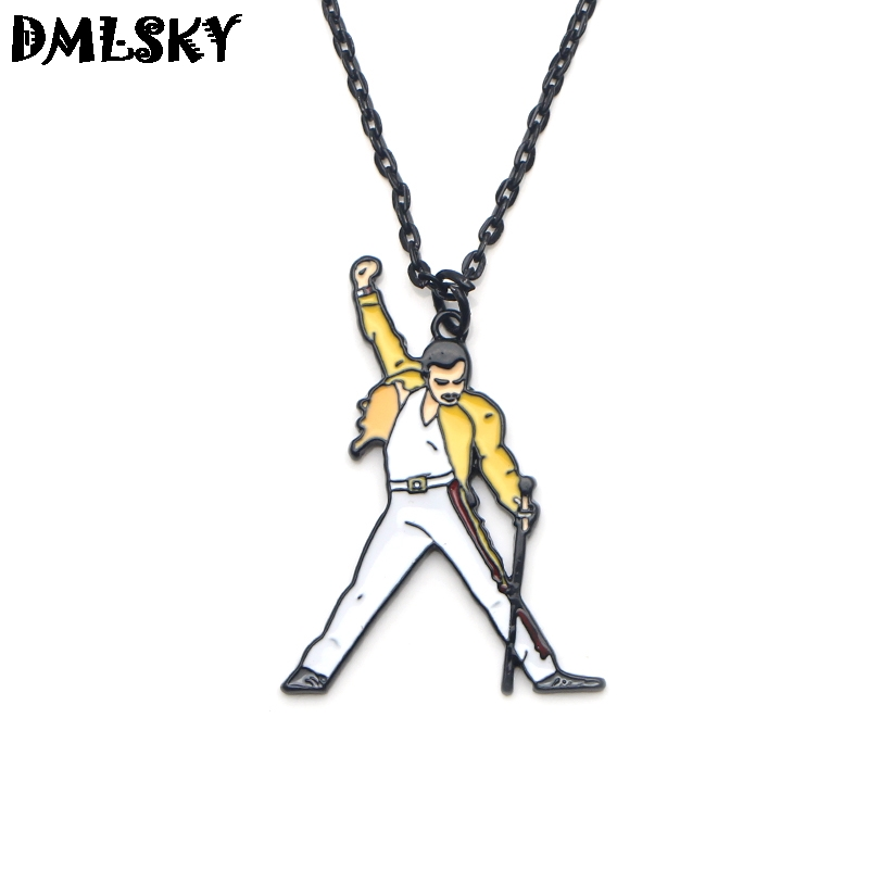 DMLSKY 20pcs lot Rock Singer Freddie Mercury Necklaces Alloy Metal Pendant Necklace Punk Jewelry Cosplay Gift