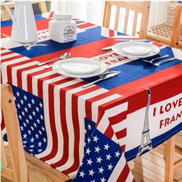 11 9 5 De Reduction Americain Drapeau Tour Jardin Brode Ronde Nappe Table A Manger Couverture Impression Etanche Pour Le Mariage Tv Table