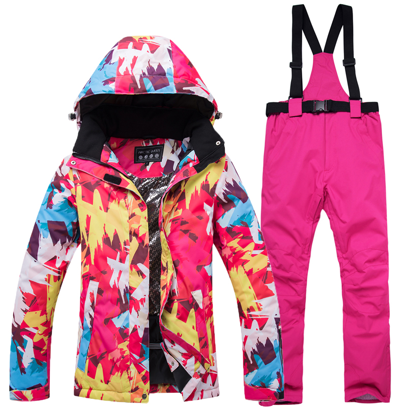 Waterproof Thicken Warm Female Ski Suit Sets Climbing Skiing Winter Snow Jacket+Pant Ladies Outdoor Windproof Snowboard SetsWaterproof Thicken Warm Female Ski Suit Sets Climbing Skiing Winter Snow Jacket+Pant Ladies Outdoor Windproof Snowboard Sets