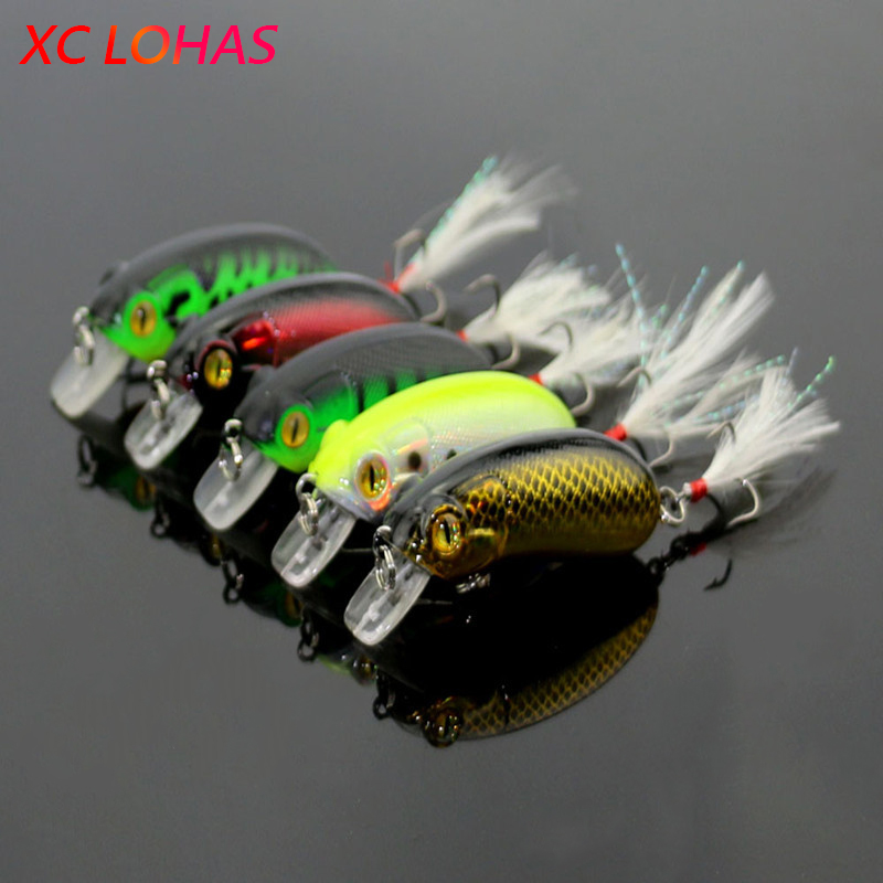 6cm 10g Crank Fishing Minnow Lures with Feather Hard Plastic Laser Reflective Minow Swim Baits High Simulation Fake Bait CB027