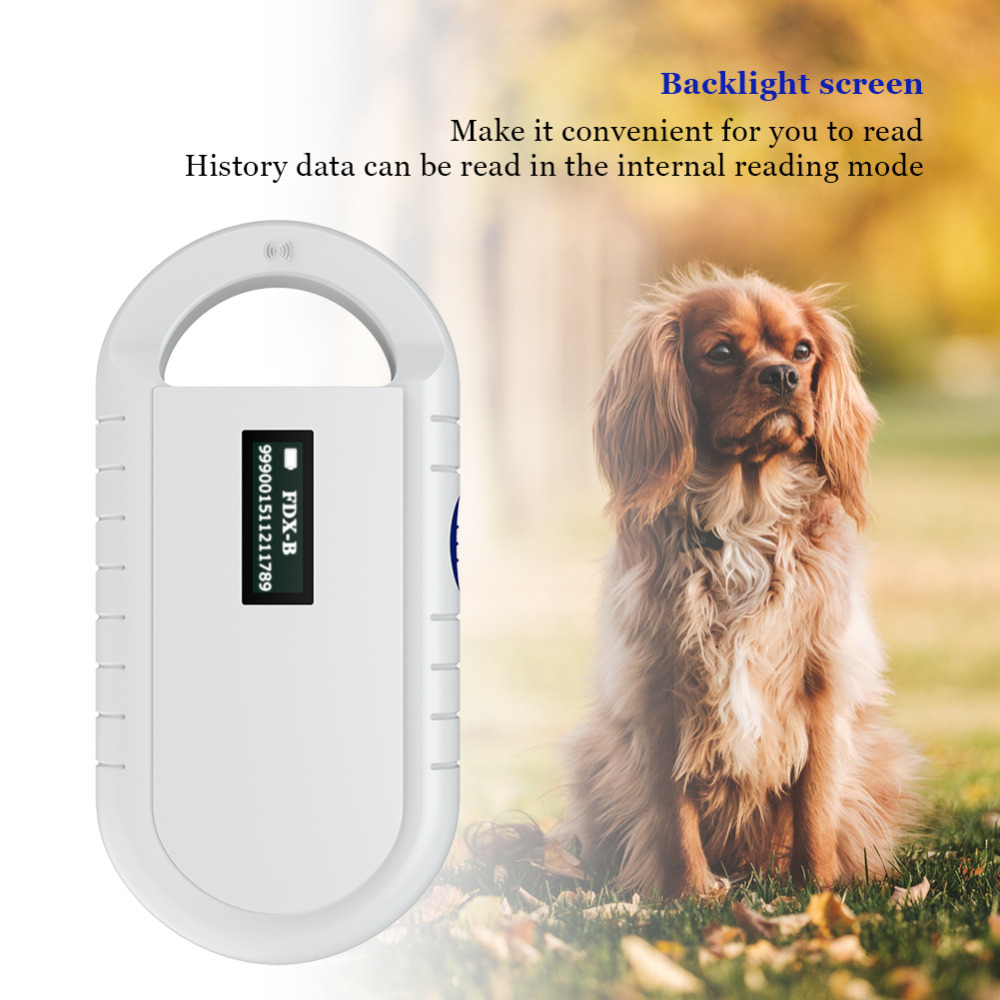 ISO11784 11785 134 2KHz FDX B Pet RFID Chip Reader For Dog Cat OLED Display ID64