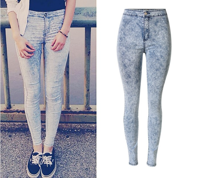2016 New Fashion Women Pants Plus Size Stretch Skinny High Waist Jeans Pants Women Blue Pencil