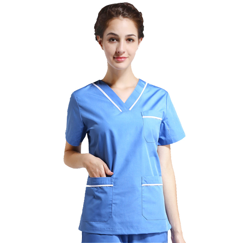 Women's Fashion Scrub Top Pure Cotton Color Blocking V Neck Shirt With Side Vent Medical Uniforms Workwear (just A Top)