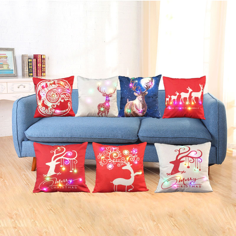 Christmas LED Light Cotton Flax Sofa Cushion Cover Throw Xmas Pillowcase Home Decor 45x45cm Pillow Case F